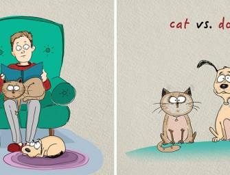 Chats Vs Chiens :  Illustrations des grandes différences entre nos amis à quatre pattes bien-aimés