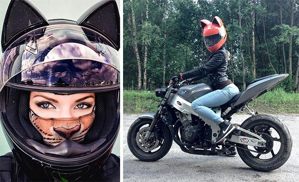 casque de moto tête de chats7